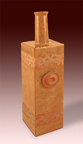 Bottle 01. Earthenware, slab, stamped, sprigged.